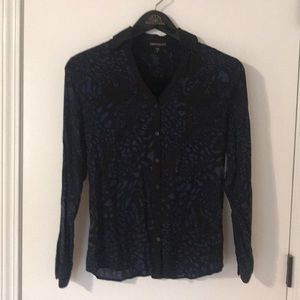 Blue and black leopard button up